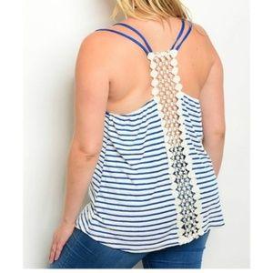Striped Tank + Crochet Panel Back